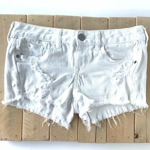 White Distressed Express Jean Shorts Size  2